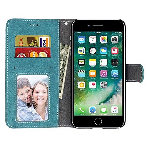 Solid Color Premium PU Housse en cuir Housse Frosted Rétro Flip Case Stand Case avec des fentes pour cartes Cadres photo pour Apple IPhone 7 IPhone7 Plus 7+ ( Color : 7 , Size : Apple IPhone 7 Plus )