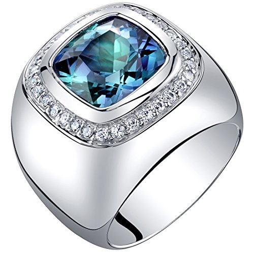 Peora Mens 7 Carats Simulated Alexandrite Ring Sterling Silver Cushion Cut Size 9