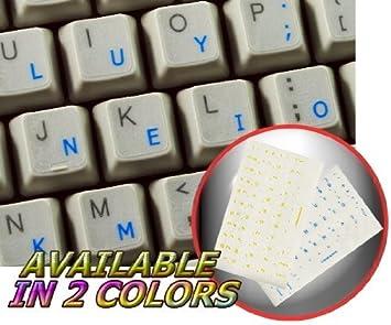 COLEMAK - Adhesivo para teclado con letras azules sobre fondo transparente
