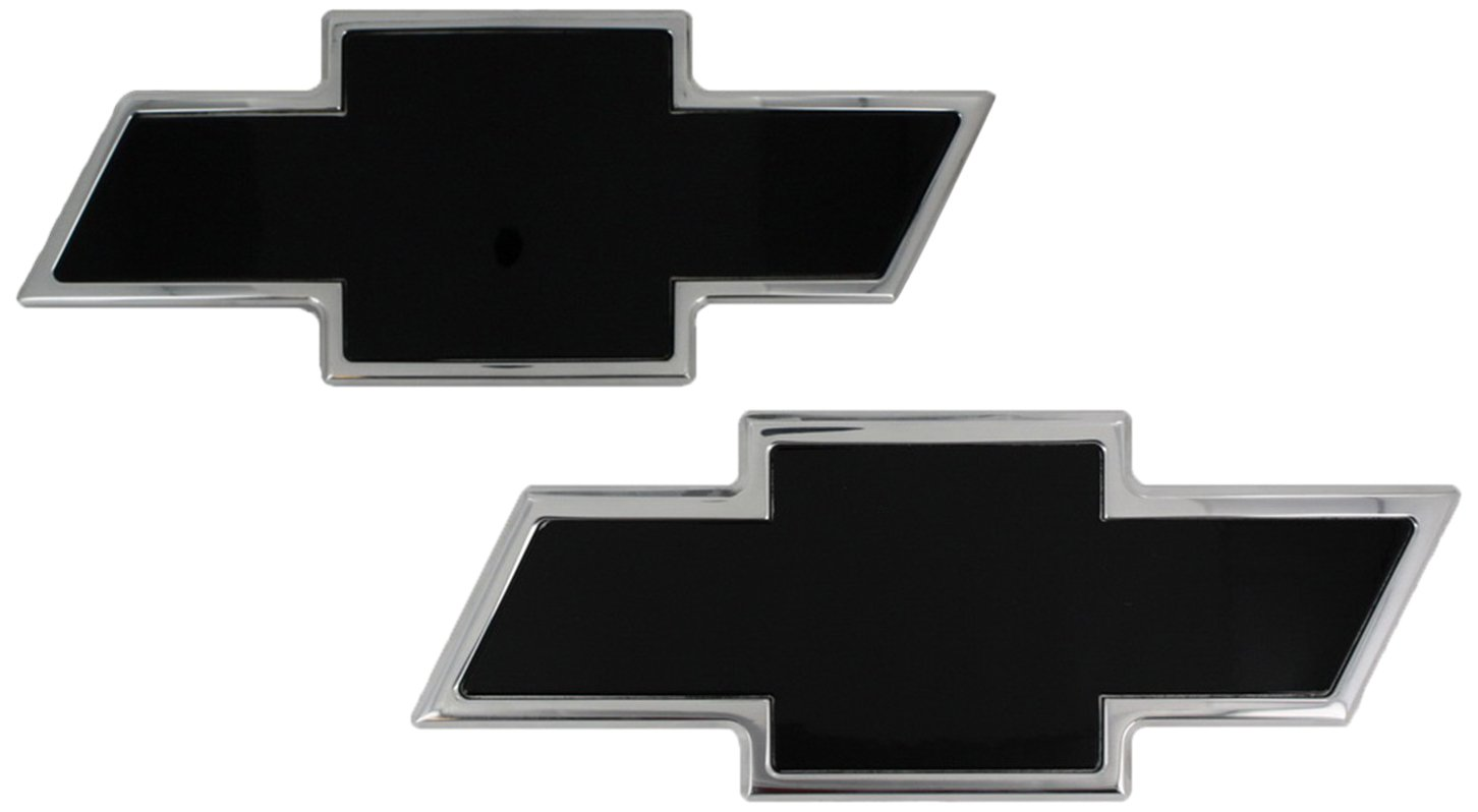 AMI 96112KC Chevy Bowtie Grille /& Tailgate Emblem 2 Pack Chrome//Black Powder coat