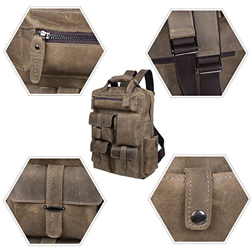 S-ZONE Vintage Crazy Horse Genuine Leather Backpack Multi Pockets Travel Sports Bag by S-ZONE (Image #6)