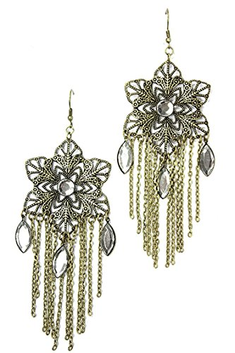 David Designer Costume Dangle (TRENDY FASHION JEWELRY STAR OF DAVID MOTIF FILIGREE WITH CHAIN CURTAIN EARRING BY FASHION DESTINATION | (Antique)