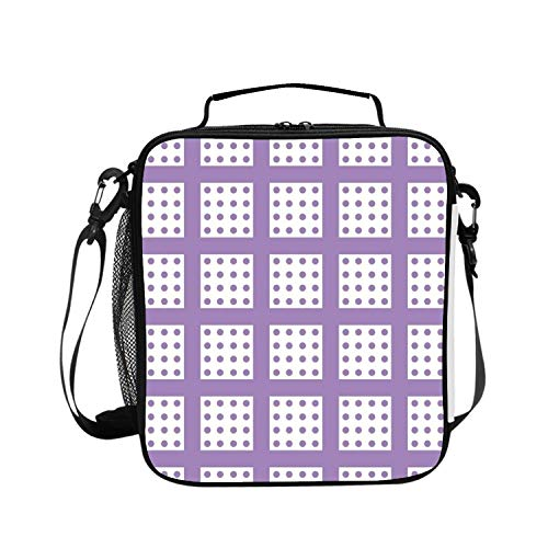 BDZC Seamless Dots Pattern Lunch Tote for Work and School with Top and Main Compartments, Adjustable Strap