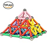 Magnetic Sticks Set ,144 Pieces Magnetic Construction Stacking Toys Safe Material Creative and Educational Building Toys Great Gift for 6 Years Old Kids