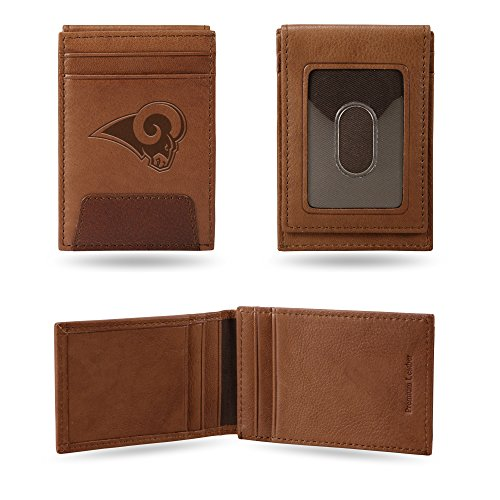 Rico Industries, Inc. Los Angeles Rams Premium Brown Leather Money Clip Front Pocket Wallet Football by Rico