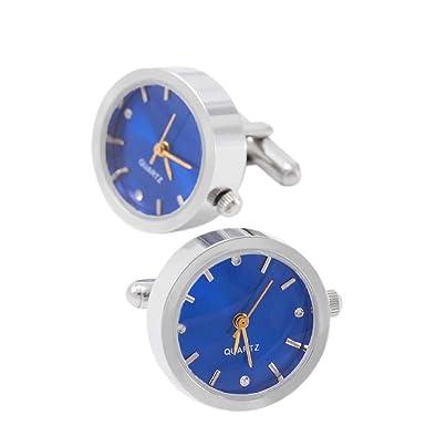 Ronda Reloj Mancuernas Hombres Francés Camisa Relojes De Movimiento Regalos Negocios,Blue-M: Amazon.es: Ropa y accesorios