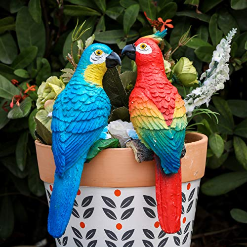 TERESA'S COLLECTIONS 7.5 Inch Fairy Garden Parrot Flower Pot Hugger Decorations, Outdoor Patio Lawn Yard Gardening Bonsai Resin Decor Planter Statue(Set of 2) (Garden Pots Patio)