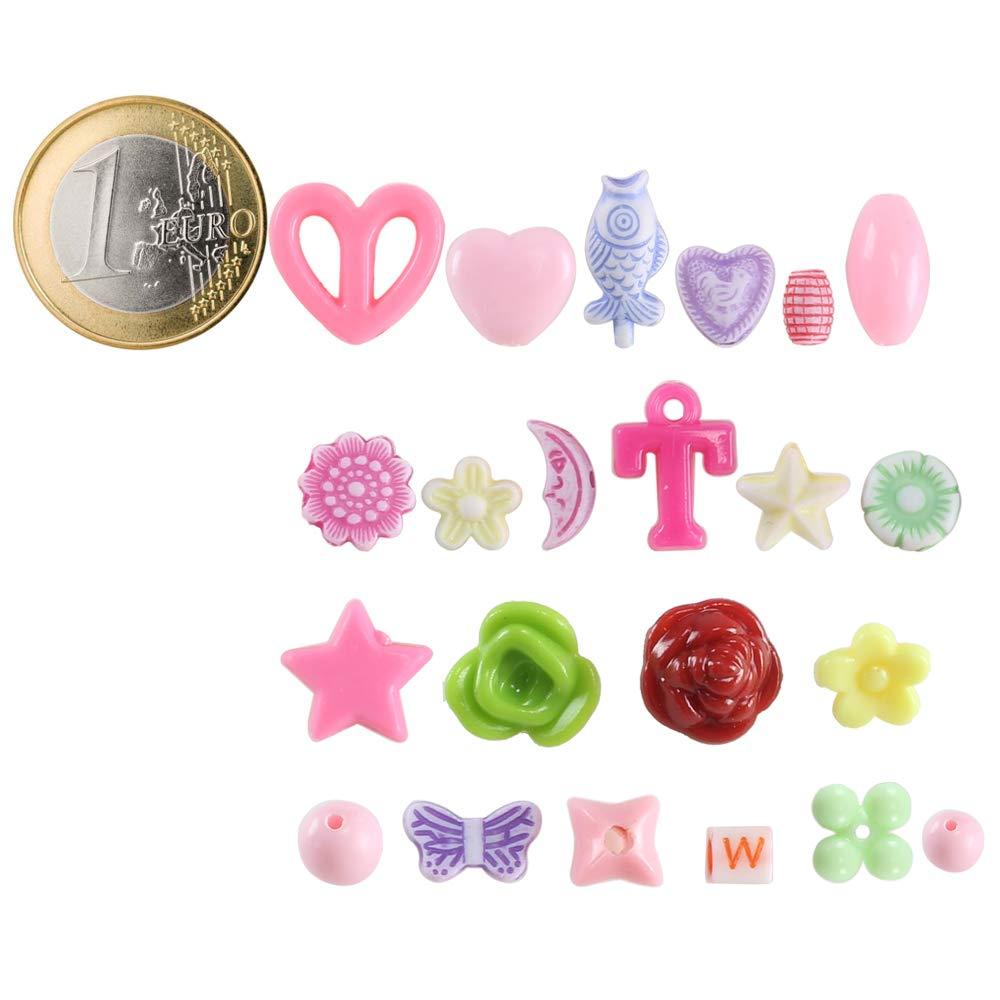 FOGAWA 24 Arten Perlen zum Auff/ädeln DIY Armb/änder Selber Machen Kinder Schmuck Schnurset Buchstaben Perlenschmuck Schmuckbasteln Geburtstagsgeschenk f/ür M/ädchen