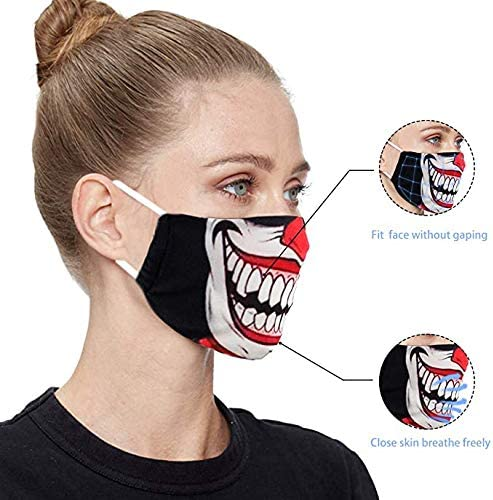 3PCS Halloween Clown Cloth Halloween Clown Face Mask Breathable Washable Adjustable Fabric Scary for Men Women Outdoor Sports