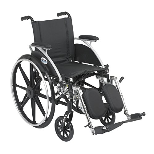 """Drive Viper Wheelchair with Flip Back Removable Arms, Desk Arms, Elevating Leg Rests, 12"""" Seat, Model - L412DDA-ELR"""