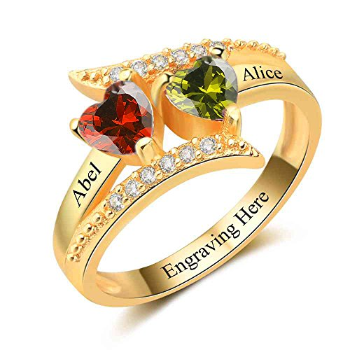Personalized Mothers 2 Birthstone Rings Custom Gold Name Rings Women Handmade Couple Promise Heart Rings For Her (Gold Two Stone)