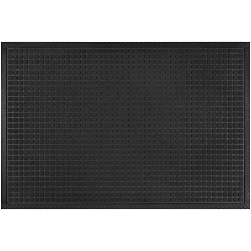 LARGE Alpine Neighbor Block Door Mat | Washable Indoor/Outdoor Low Profile Doormat | Rubber Entrance Rug Floor for Front Entry Outside/Inside Doors Patio Grass Snow Carpet Absorbent Garage Water Black (Large Grass Mats)