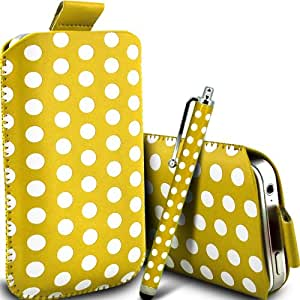 Fone-Case HTC Desire 601 Protective Polka PU Slip cuerda del tirón en la bolsa de la liberación rápida y Mini capacitivo Stylus Pen (amarillo y blanco)