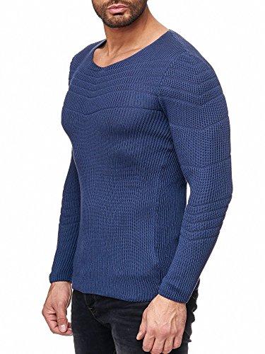 Mode Red Pull Sweater En Basic Hommes Tricot Bridge Manches Indigo Longues qPqTwU