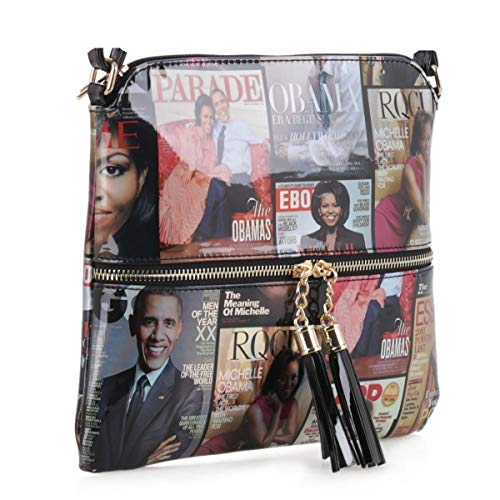 Glossy Magazine Cover Lightweight Medium Crossbody Bag with Tassel Michelle Obama Purse | Black