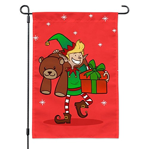 Christmas Elf with Presents and Gifts Garden Yard Flag with