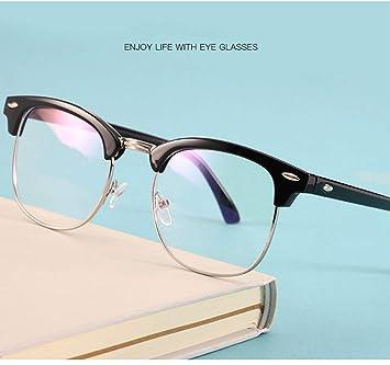 b627591441 Gafas retro unisex, gafas redondas de metal con montura media Lentes transparentes  Gafas graduadas Vintage