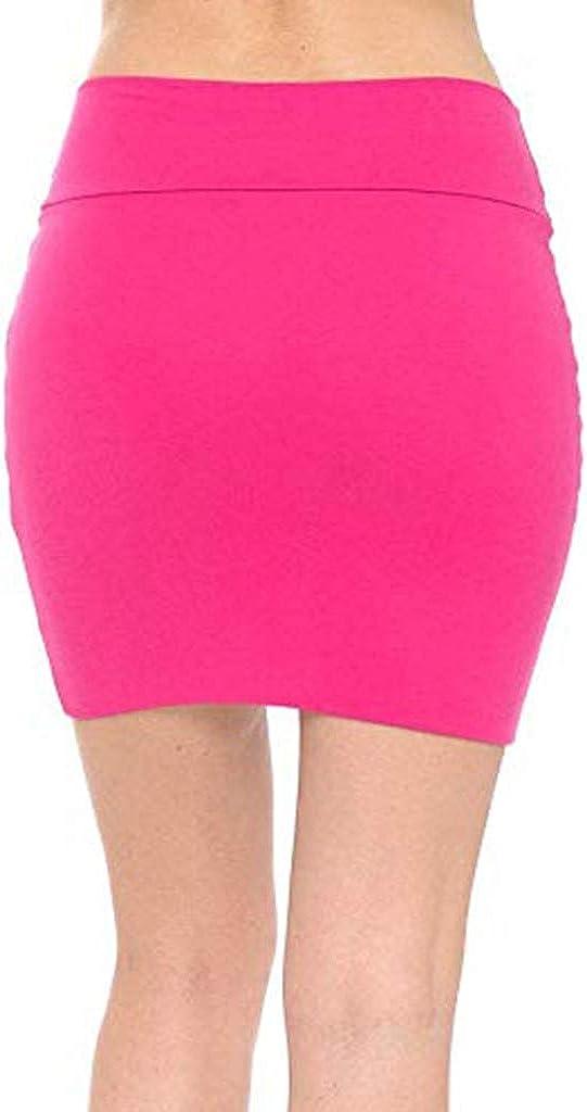 beautyjourney Falda l/ápiz Bodycon para Mujer Minifalda de Color Liso Falda de Negocios el/ástica de Cintura Alta Faldas Cortas Flacas b/ásicas