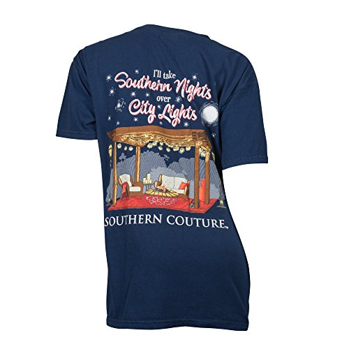 Southern Couture SC Comfort I'll Take Southern Nights Over City Lights Classic Fit Adult T-Shirt - True Navy, Large (Il Southern Craigslist Furniture)