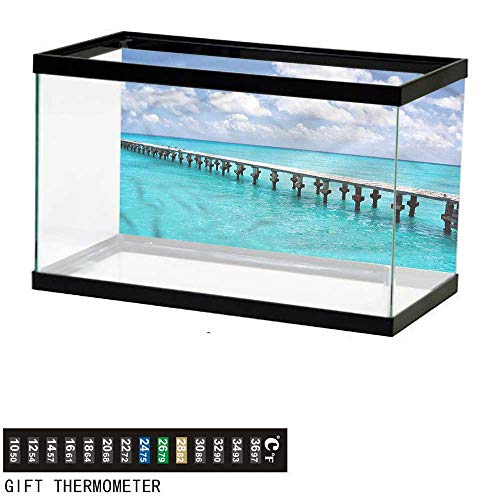 bybyhome Fish Tank Backdrop Beach,Duck in The Ocean Sunny Day,Aquarium Background,72' L X 24' H(183x61cm) Thermometer Sticker