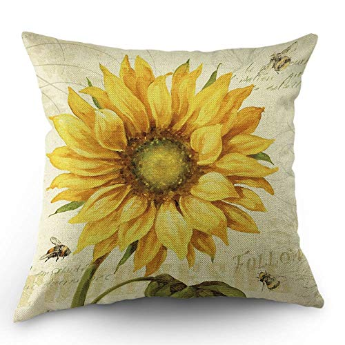 (HL HLPPC Sunflower and Bee Throw Pillow Case Oil Painting Yellow Sunflower Cotton Linen Cushion Cover 18 x 18 Inches Standard Square Decorative Pillow Cover for Sofa and Bed One Side Print)