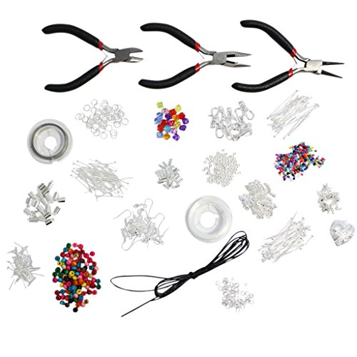 1000 Piece Brilliant Jewelry Making Starter Kit - Findings, Beads, Cord, Tiger Tail, Silver Plated Accessories by Kurtzy TM (Jewelry Making Starter Kit)