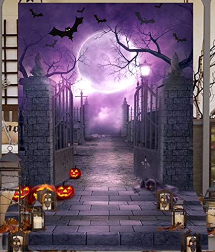 Halloween Wall Backdrops (OurWarm 5x7FT Halloween Photo Cloth Backdrop Photography Background for Halloween Party Decorations Studio Photo)