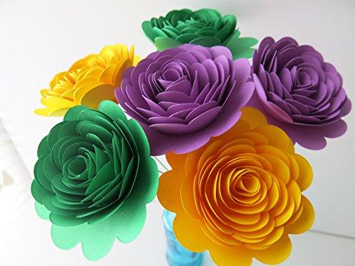 Mardi Gras Theme Paper Flowers Bouquet, Set of 6 Long Stem Roses, 3