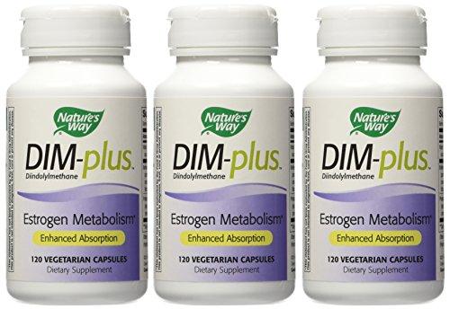Nature's Way Dim-Plus, Diindolylmethane Vegetarian Capsules, 120-Count (Packaging May Vary), Pack of 3