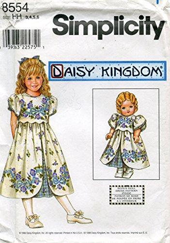 Simplicity Daisy Kingdom Pattern 8554/0628 Girls' Dress and Dress for 18-Inch Doll, HH (3-4-5-6) (Daisy Kingdom Doll)