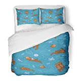 Emvency 3 Piece Duvet Cover Set Brushed Microfiber Fabric Breathable Blue Otter with Sea Shell Snail Mussels Prawn Crab and Water Plants Perfect Bedding Set with 2 Pillow Covers Twin Size