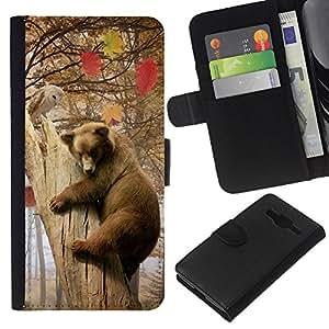 EJOY---La carpeta del tirón la caja de cuero de alta calidad de la PU Caso protector / Samsung Galaxy Core Prime / --Oso y Búho Forrest Amigos