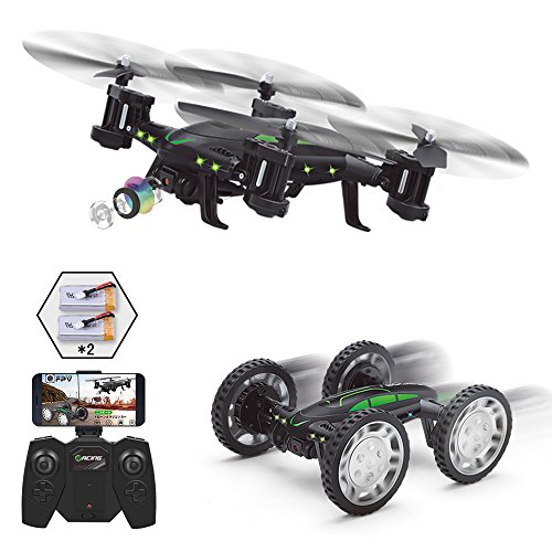 Fpv Rc Drone With Camera Live Video  Rolytoy Remote Control Car For Kids Adults  2 In 1 Wifi Quadcopter Toy 360  Flip Headless Mode 2Pcs 650Mah Batteries