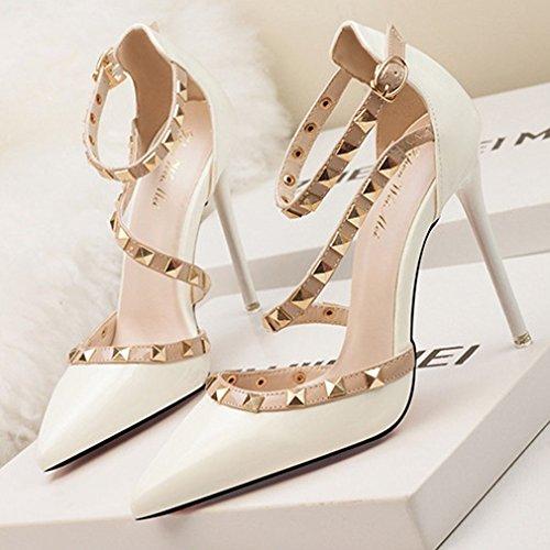 Alto Blanco Zapatos Hebilla Huecas Remache Dedo De Xianshu Bombas Tacón Sandalias Pie Mujeres Puntiagudo Del Corte gH5IZ
