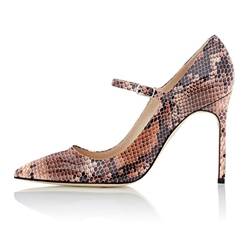 Ankle Pointed Mary Python With High Strap Shoe Pumps Women's Sammitop Jane Brown Heel Toe vaWZBBpqS