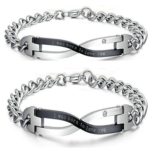 Gnzoe LGBT Homosexual Men Set Bracelet Bangle Stainless Steel Link 'I was born to love you' Infinitely