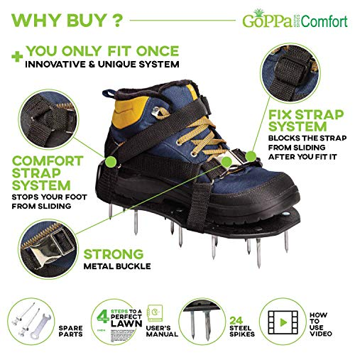 GoPPa Lawn Aerator Shoes – Easiest to USE Lawn Aerator Sandal, You only FIT Once. Ready for aerating Your Yard, Lawn, Roots & Grass – Comfort Design by GoPPa (Image #4)