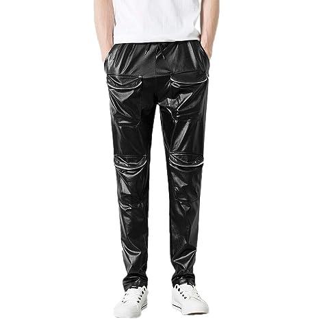 Hombre Pantalones hip hop casual calle,Pantalones Material reflectante de hombre ciclistas pantalones largo con