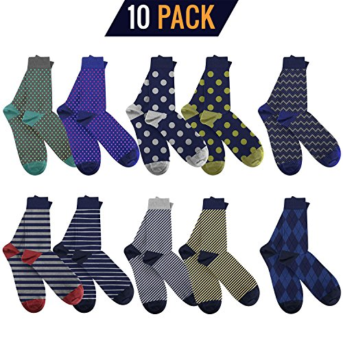 3KB-Mens-Dress-Socks-10-Pairs-Per-Pack-Shoe-Sizes-75-to-12-Variety-of-Patterns