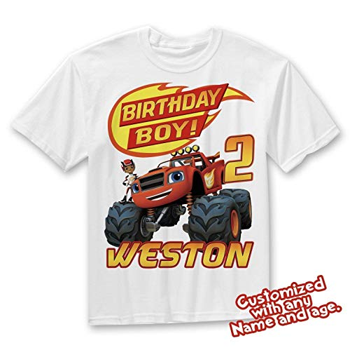 (Blaze and the Monster Machines Birthday Shirt, Blaze Custom Shirt, Personalized Blaze, Blaze family shirts, Birthday t-shirts)