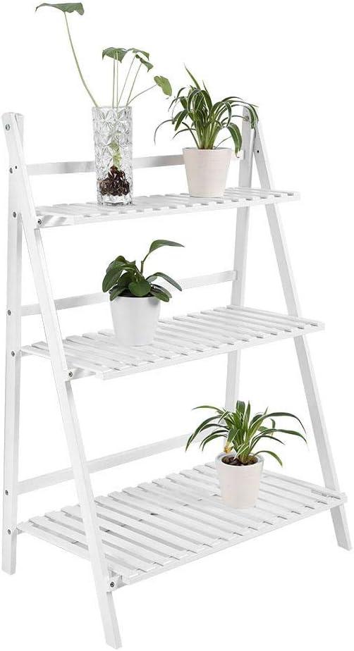 Estantería para Flores Plegable, Escalera para Plantas, 3 Estantes, Estantería de Jardín de Bambú, Escalera para Plantas Decorativa para Patio Jardín Balcón Blanco: Amazon.es: Jardín