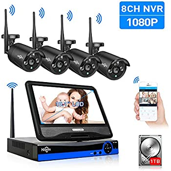 e402342d3d7 All in one with Monitor Wireless Security Camera System 10.1  LCD Home WiFi  CCTV 8CH 1080P NVR Kit 4pcs 1080P Indoor Outdoor Bullet IP Camera(Black)  H.265 ...