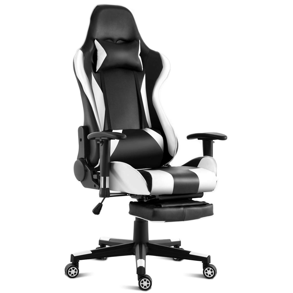 Giantex Ergonomic Massage Gaming Chair, High-Back Massage Lumbar Cushion Racing Chair with Retractable Footrest PU Leather Gaming Chair for Women Men