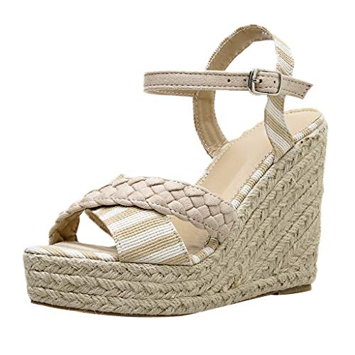 〓COOlCCI〓Women's Adjustable Ankle Strap Wedge Comfort Sandal Open Toe Casual Platform Sandals Espadrille Wedge Sandal Khaki ()