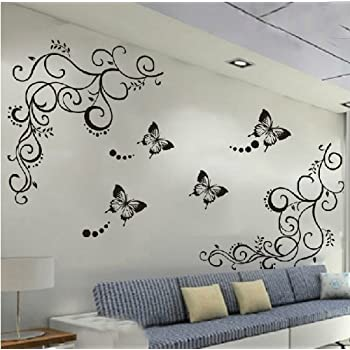 Superb Amaonm Hot Fashion Removable Vinyl Diy Black Nursery Flowers Vine And  Beautiful Butterfly Wall Corner Decals