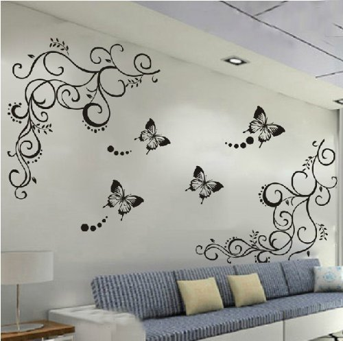 Amaonm Hot Fashion Removable Vinyl Diy Black Nursery Flowers Vine and Beautiful Butterfly Wall Corner Decals Wall Sticker Murals Home Art Decor for Girls Kids Bedroom Living Room Home Decorations (Vinyl Butterfly Stickers)