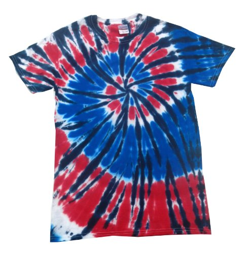 Buy Cool Shirts Tie Dye Shirt Red White Blue American USA Independence Swirl T-Shirt 5XL ()