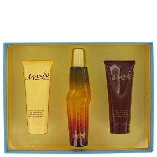 MAMBO by Liz Claiborne Gift Set -- 3.4 oz / 100 ml Cologne Spray + 3.4 oz / 100 ml Body Wash + 3.4 oz / 100 ml Body Moisturizer for Men (Cologne Scented Mambo)