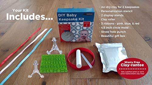 Baby Handprint Footprint Keepsake Ornament Kit (Makes 2) – Bonus Stencil for Personalized Christmas, Newborn, New Mom…