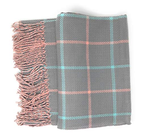- Women's Plaid Reversible To Solid Soft Stylish Scarf Gift Bag 69 in by 26 in (Gray Plaid/Pink)